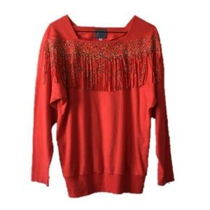 Vintage 80s Red Orange Beaded Fringe Sweatshirt M